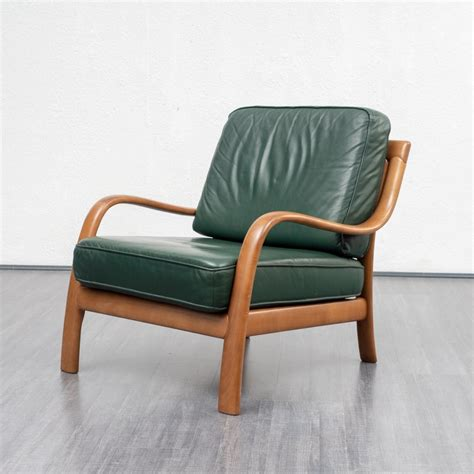 Green Leather Armchair by 2 X Green Leather Armchair With Beech Frame 1960s 98094