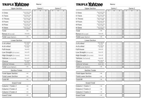 kingofmycastlecom triple yahtzee printable html score