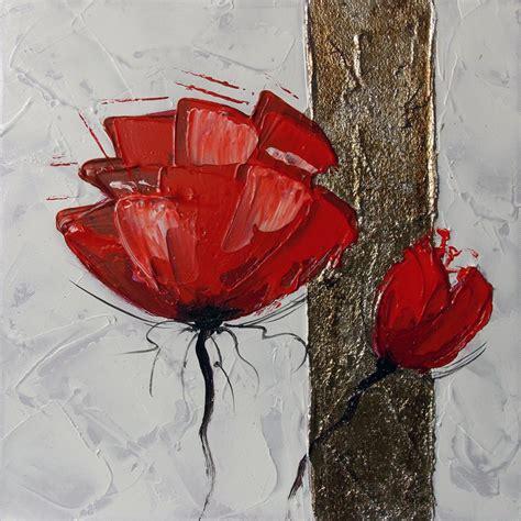peinture fleurs rouges abstraites tableau fleur poppies tableau fleurs
