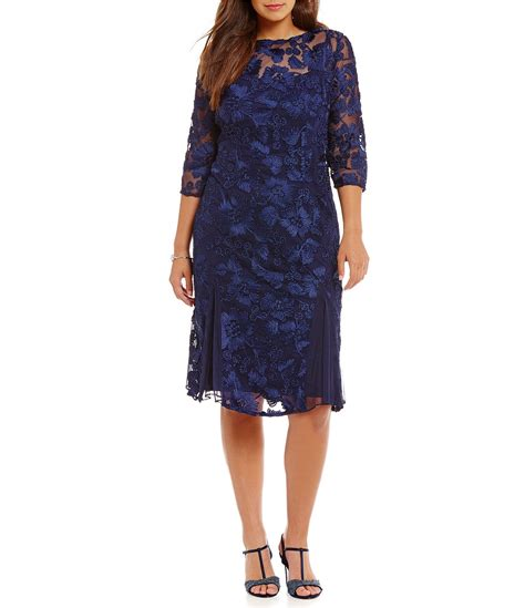 lace 3 4 sleeve midi dress alex evenings plus 3 4 sleeve embroidered midi dress