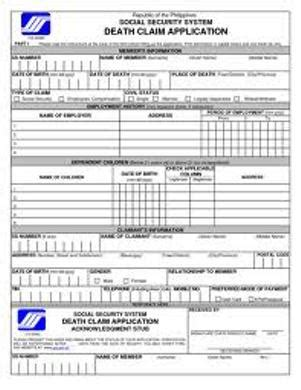 death claim form sss death and funeral benefit claim requirements
