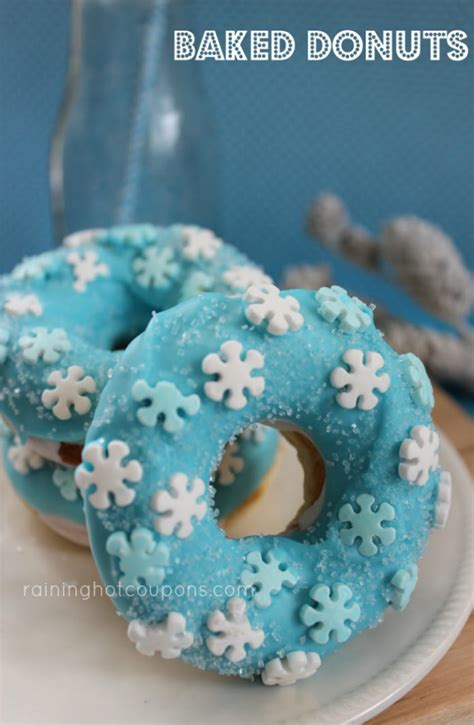 blue snowflake baked donuts