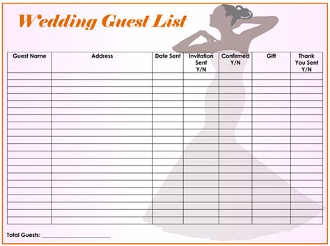 Blank Guest Lis On Wedding Gift List Templ