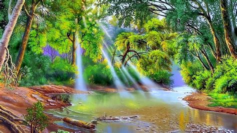 Nature River Trees With Green Leaves Sun Rays Art Hd