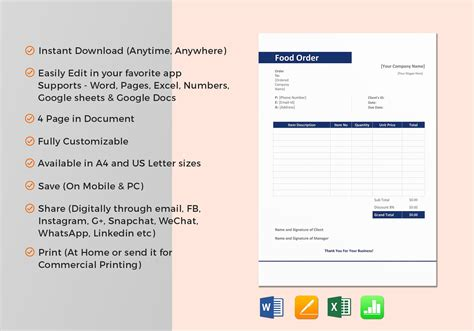 sample food order template  word excel apple pages