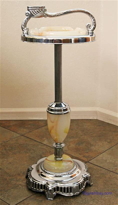 standing floor ashtray slag glass  chrome big ashtray