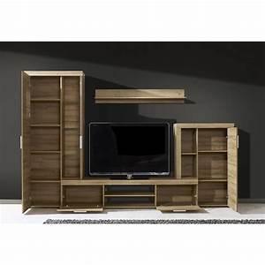 Meuble Tv Avec Etagere : ensemble meuble tv 291 cm avec 1 banc tv 2 vitrines et 1 tag re coloris ch ne ~ Teatrodelosmanantiales.com Idées de Décoration