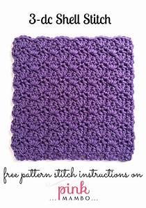 3-Double Crochet Shell Stitch Pattern - Pink Mambo