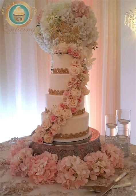 White Blush And Gold Wedding Cake Cakecentralcom