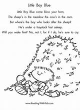 Nursery Rhyme Rhymes Coloring Boy Pages Reading Rhyming Preschool Children Colouring Poems Words Activities Poetry Crafts Kindergarten Theme Lyrics Sheets sketch template