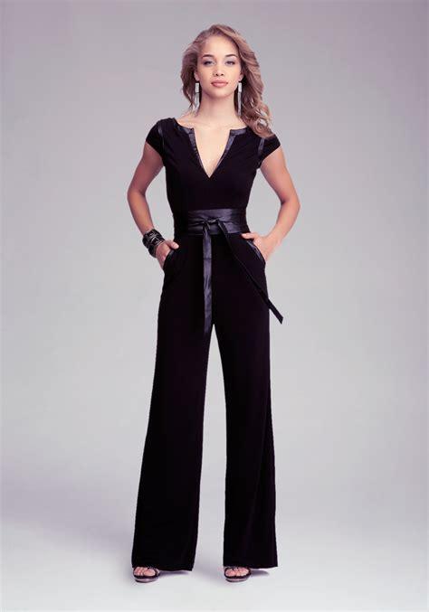 s dress jumpsuits bebe wrap belt jumpsuit in black lyst