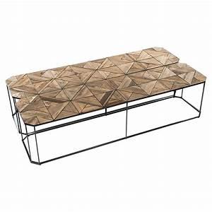 kieran reclaimed wood parquet industrial iron long bench With parquet reclaimed wood rectangular coffee table