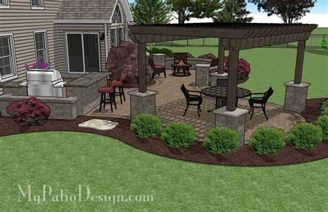 Large Patio Designs by Large Paver Patio Design With Pergola Plan No 1156rr