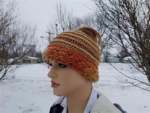 Crochet Cable & Ribbed Messy Bun Hat Beanie Pattern DIGITAL