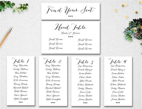 Wedding Table List Template by Wedding Table Seating Chart Editable Template Instant