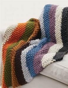 Bernat Seed Stitch Blanket - Cozy chunky rainbow striped ...