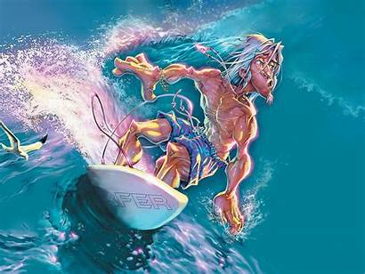 Surfing Cartoon Surfer Awesome Drawing Waves Surfeur