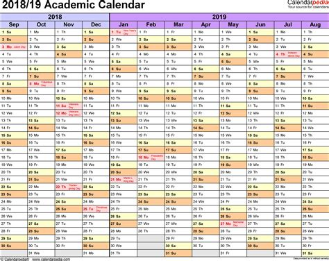 2018 2019 academic calendar template academic calendars 2018 2019 free printable pdf templates