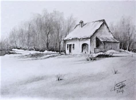 cuisine l internaute dessin crayon graphite vieille maison et neige par claude