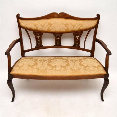 antique settee bench antique edwardian inlaid mahogany settee at 1stdibs