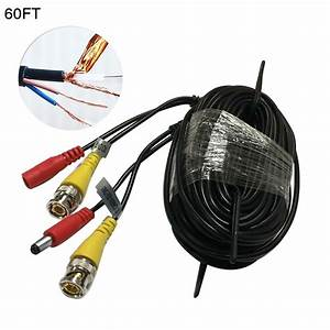 60ft Security Camera Cable Cctv Audio Video Power Wire Bnc