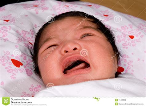 Newborn Baby With Eyes Closed Crying Stock Photo Image