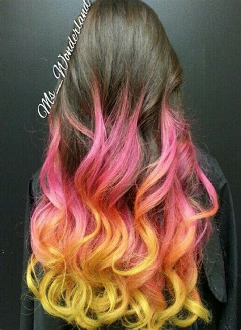 Ombre Pink Yellow Dyed Hair Color Dip Dye Hair Sunset