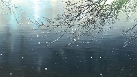 garden  words makoto shinkai pond branch snow winter