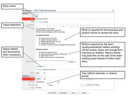 user story template write a great user story ca agile central help