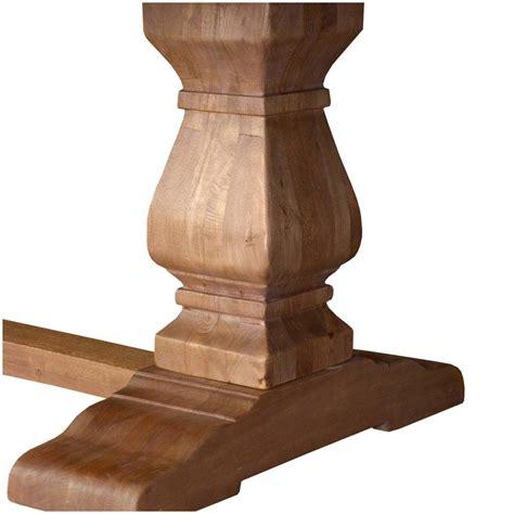 wood pedestal table base kits rustic solid wood trestle pedestal base harvest dining table