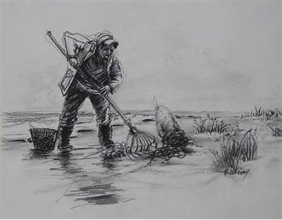 Clam Digger Drawing Charcoal Ken Seascape Hillberry