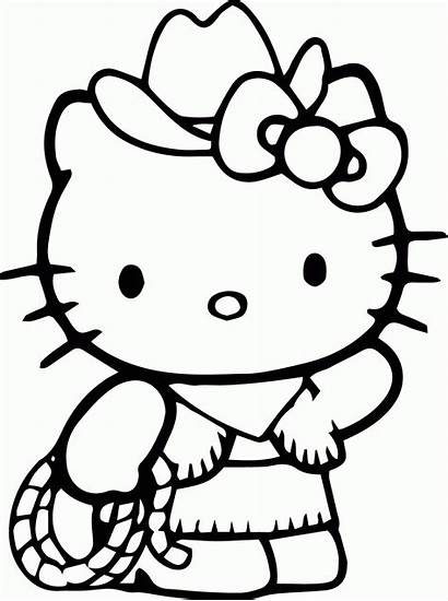 Kitty Hello Coloring Pages Colouring Printable Drawing