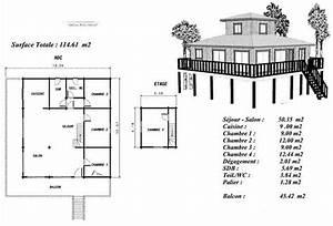 plan maison bois modele teck construite sur pilotis With plan maison bois sur pilotis