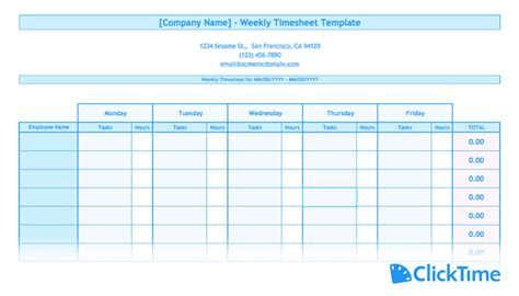 timesheet template printable timesheets clicktime