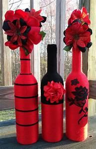 Botellas rojo Set de floreros floreros centros de mesa