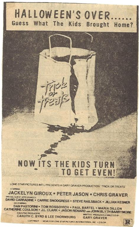 The Horrors of Halloween: TRICK OR TREATS (1982) Newspaper ...