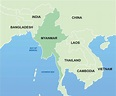 Myanmar map asia - Myanmar on map of asia (South-Eastern ...