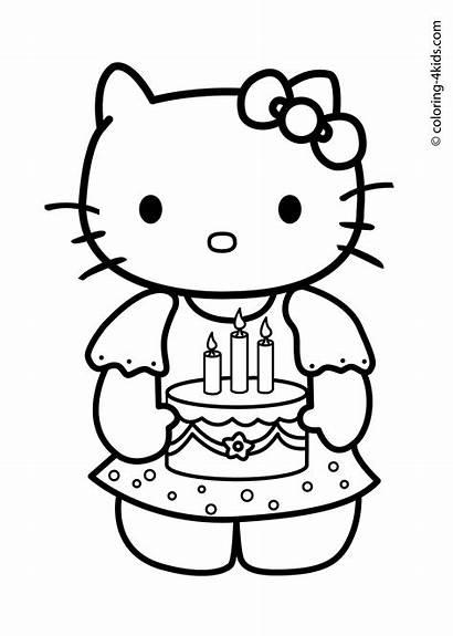 Coloring Kitty Happy Birthday Hello Popular