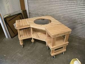 Custom Green Egg Corner Grill Table by Design47