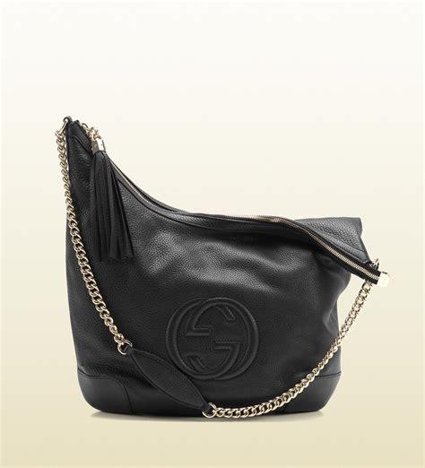 lyst gucci soho black leather shoulder bag  chain strap  black