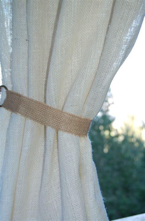 rustic burlap curtain tie back with metal rings