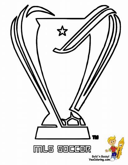 Coloring Trophy Soccer Pages Mls Sheets Sports