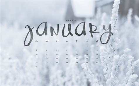 Hello January! Downloadable Calendar Freebie.