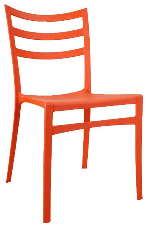 stackable modern chair orange contemporary outdoor