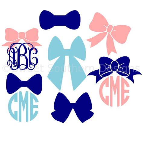 cricut bow bow ribbon monogram svg instant design for cricut or