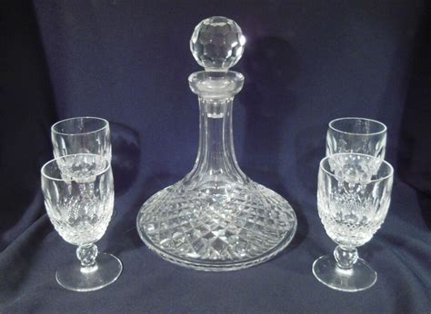 Waterford Crystal Colleen Pattern Ship's Decanter & 4