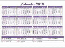 2018 Holiday Calendar USA, Federal, Jewish Web E Calendar