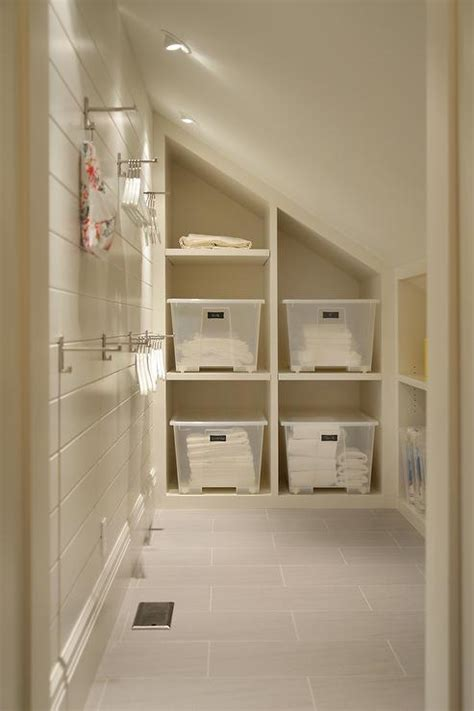 laundry room  sloped ceiling  built  cubbies