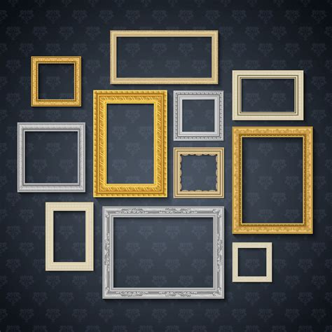 Online svg photo or image gallery for editors. Frames On Dark Wall Set - Download Free Vector Art, Stock ...