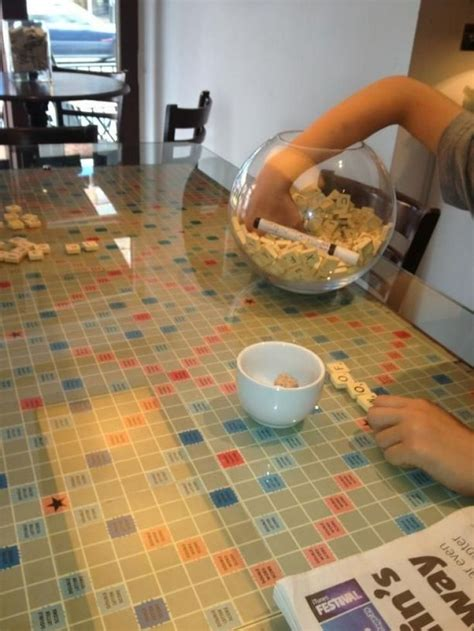 Scrabble Board Table Under Glass